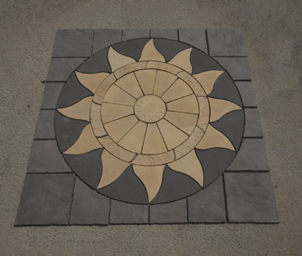 3m x 3m Aztec Sun Circle Buff (Narrow Buff Ring) Plus Slate Grey Infill